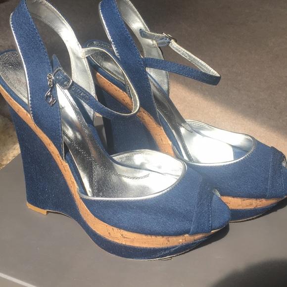 1c87f0e48d Baby Phat Shoes | Blue Jean Denim Cork Venice Wedges Sz9 | Poshmark